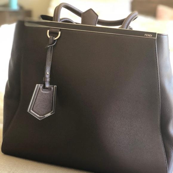 New  FENDI CafeNoir Leather Large Sac 2Jours 7f0de759b2d